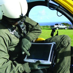 GPS-enabled field computers help pilots and crews record where they've already surveyed and where they need to go.